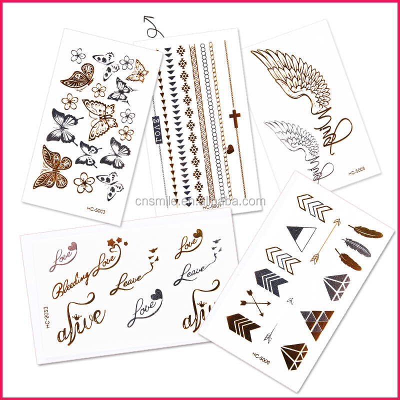 Wholesales sexy body art metal gold tattoos custom flash metallic temporary tattoo