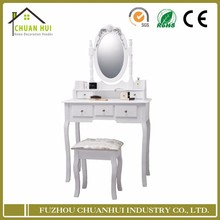 White dressing table mirror and stool , dresser vanity set
