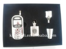 mobile phone hip flask stainless steel gift set with box