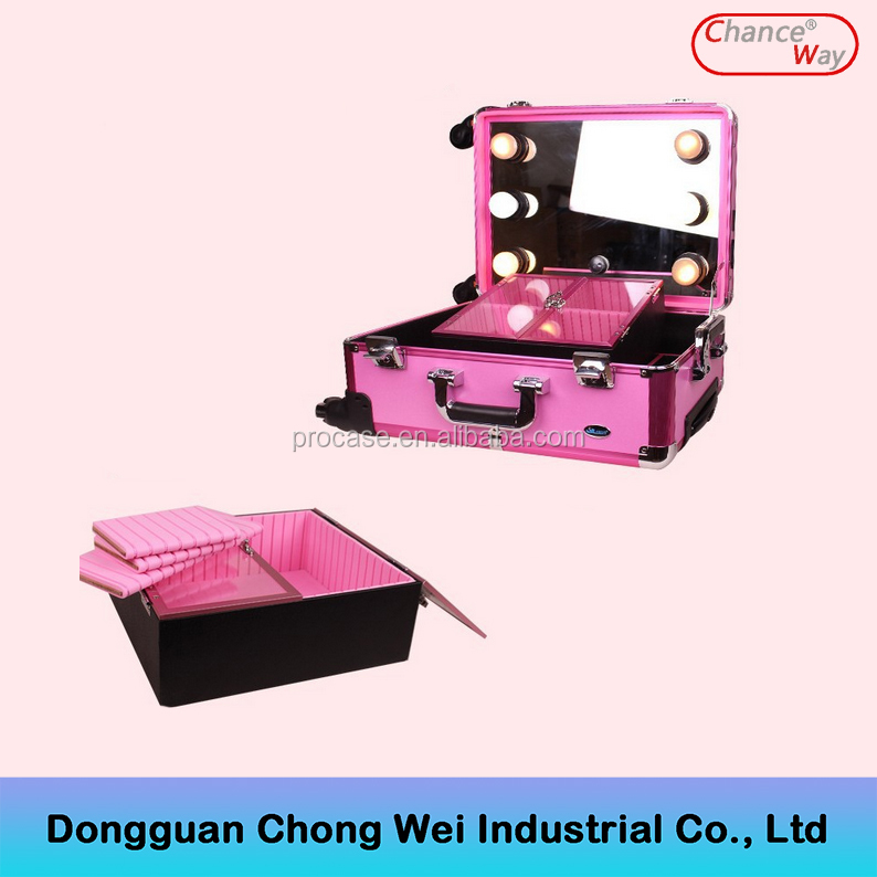 Aluminum Makeup Train Case Beauty Case <strong>Cosmetic</strong> with Mirror and Lights no Stand