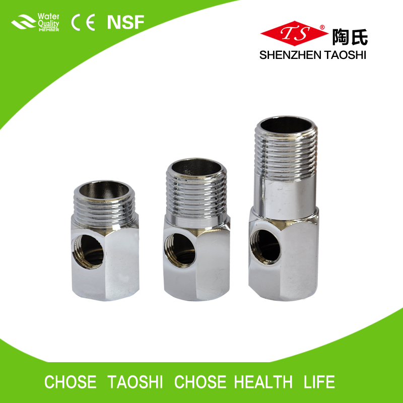 Short metal Tee joint connect PE pipe / three ways valve in water purifier