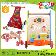2017 Popular Kids Educational Wooden Push Toy Stroller Round Baby Walker Wholesale for Children
