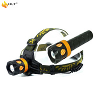 One used as two Adjustable focus flashlight XPE head torch