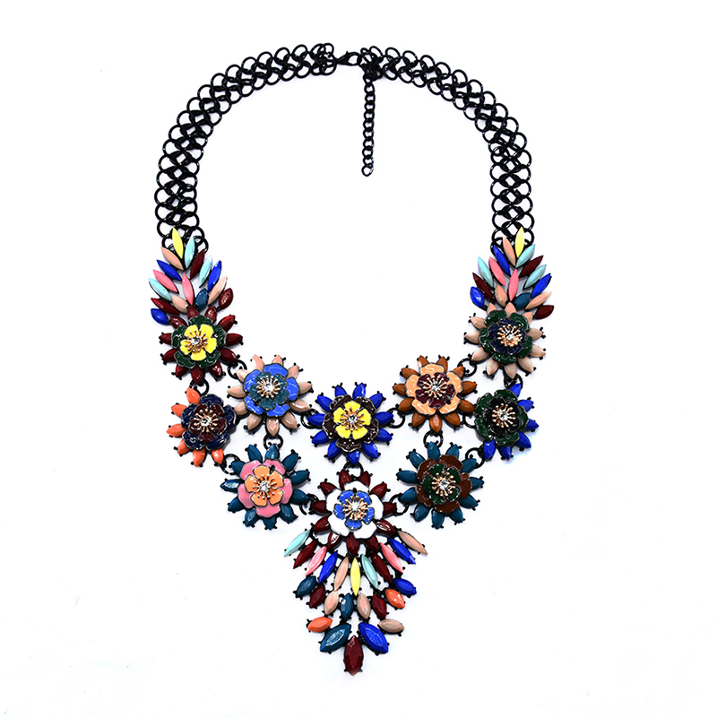 Chunky Black Chain Colorfl Metal Flower Necklace For Women Yiwu factory Wholesale