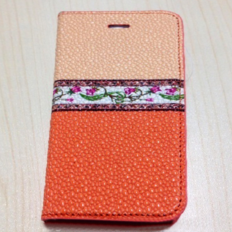 2014 New Book Style PC and Genuine Leather Case for Iphone 5 5s