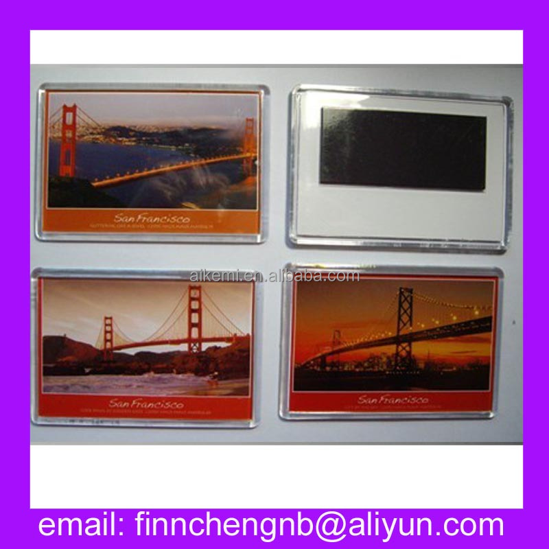 97X66mm promotion souvenir tourist acrylic plastic photo picture insert fridge magnet