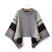 Monroo new design 2015 winter european stylish hand knitted poncho