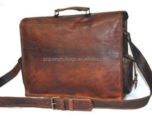 custom top-quality brown genuine leather men's briefcase with hot selling metal brand breifcase