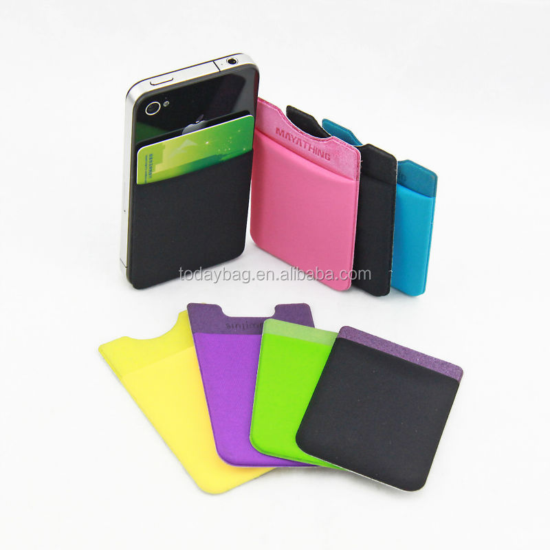 Hot sale transfer printing sticky card pouch for moblie phone