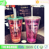 16Oz Promotional Item Plastic Cup Double Layer Plastic Tumbler With Straw