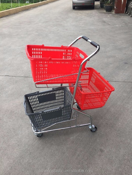 Chrome Plating Three Baskets Push Trolley ( Foshan Manufacturer )