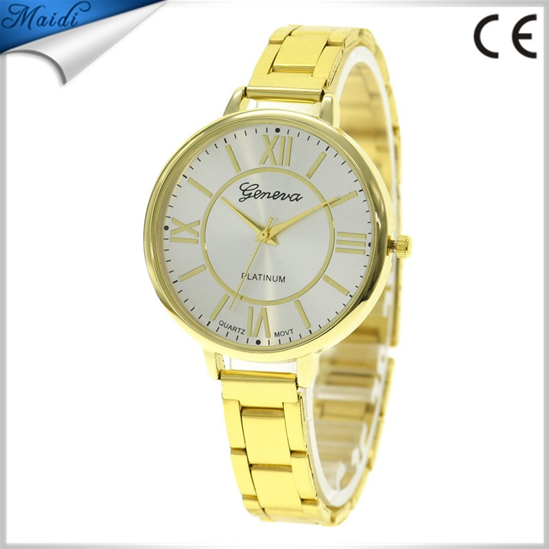 2017 Wholesale Geneva Alloy Casual Watches Fashion Woman Roman Number Thin Metal Watch Lady Dress Wristwatch GW103