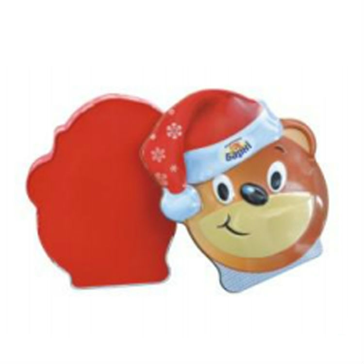 Wholesale lovely cartoon bear shaped tin box candy box metal tin Christmas boxes