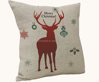 2015 China factory suppliers provide hot sale 100% cotton super soft Christmas reindeer pillow