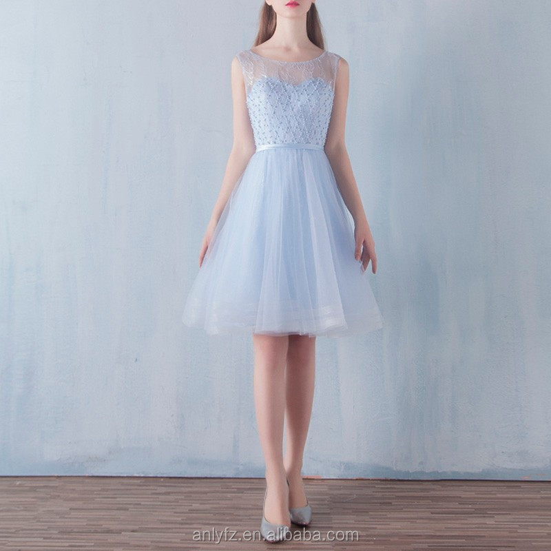 Anly latest design fashion light blue short lace bridesmaid dresses banquet wedding dress