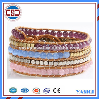 Alibaba high quality women watch accessories gemstone beads bracelet charm custom wrap leather jade bracelet