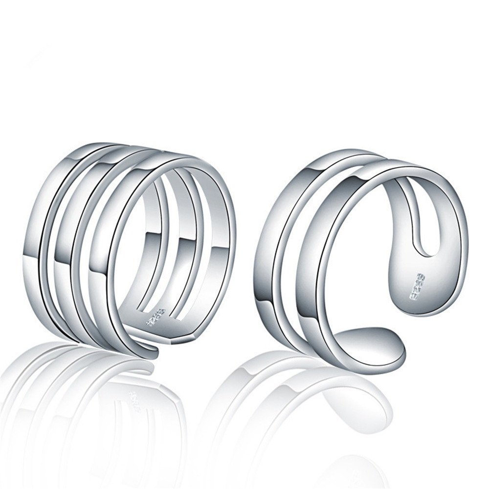 Solid 925 Sterling Silver Ring Couple Plain Band Opening Adjustable Couple Ring Silver Wedding Ring