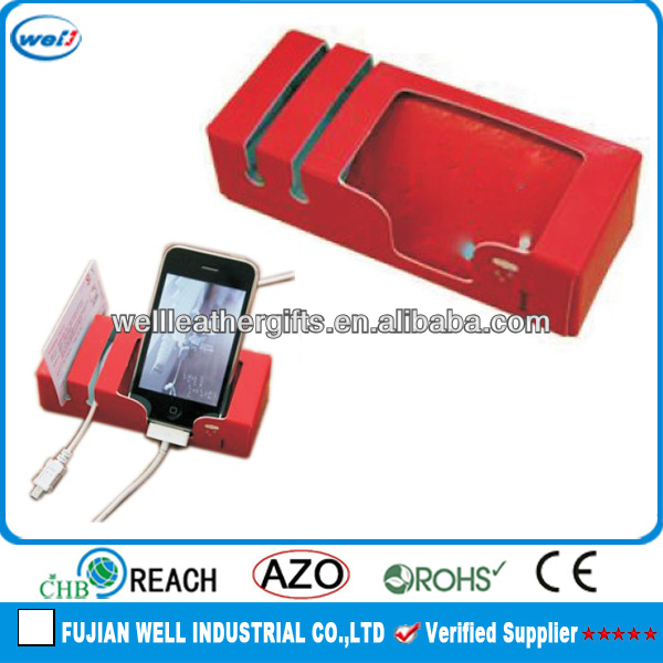 desktop leather mobile holder