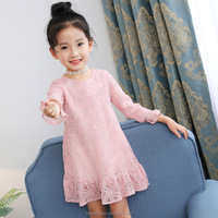 2017 New Autumn Fashion Korean Children Clothing Girls White Lace Dress Princess Dresses Kid Clothes for teenage girl