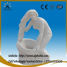 White marble nude garden statue with flower urn