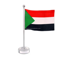 Table flag (sudan flag)with plastic pedestal from wenzhou Fly