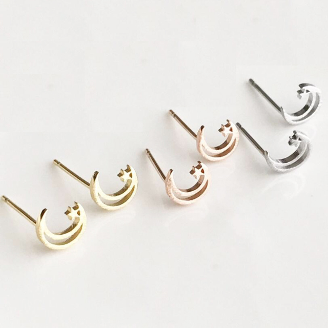 Custom Personalized Stainless Steel Wire Drawing Women Crescent Moon Star Stud  Earrings