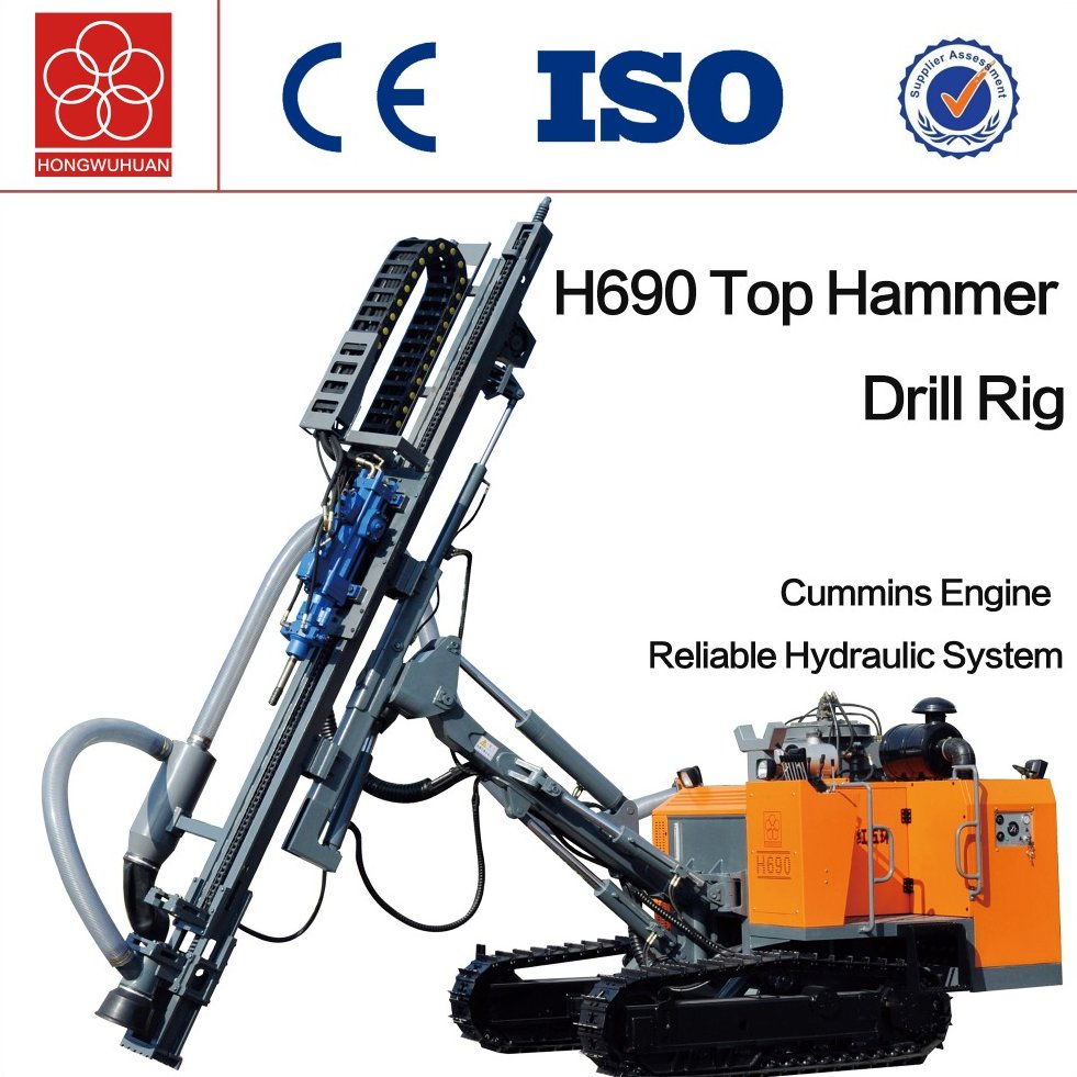 H690 surface top hammer drilling Machine crawler rock drill rig