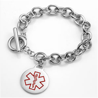 Yiwu Aceon Diabetes Stainless Cable Link Bracelet & Charm 6 - 7 Inch