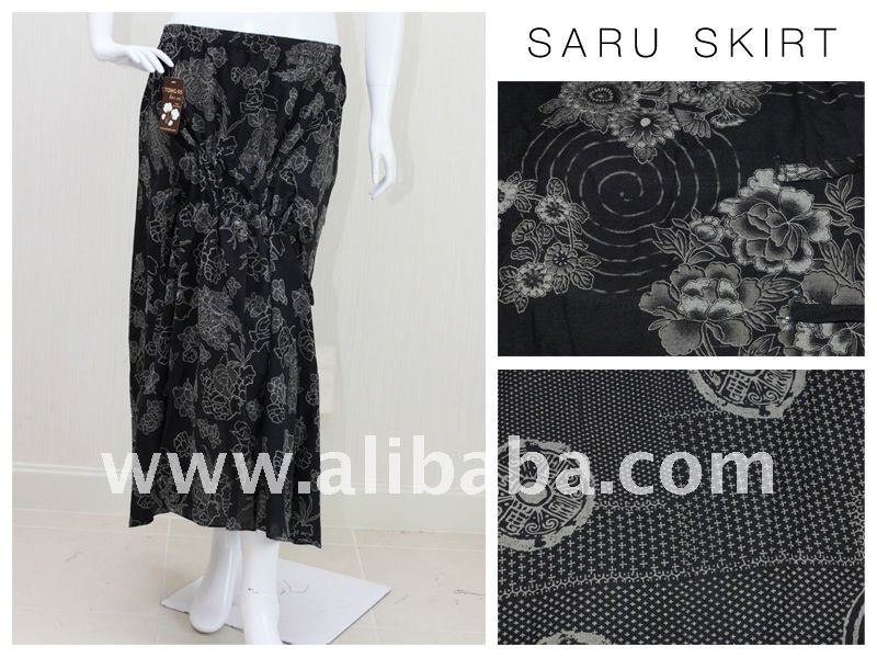 Thai printed cotton 2 sides drawstrings skirt with elstic on waist