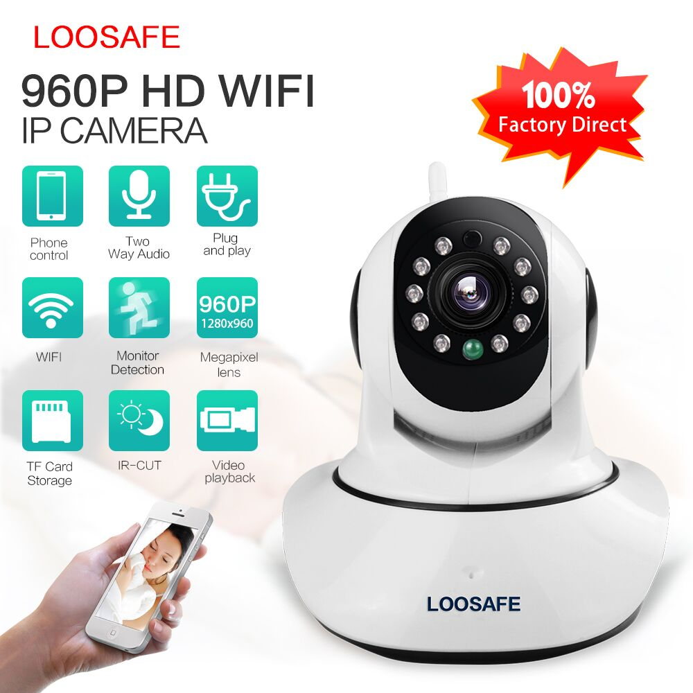 Loosafe F2 HD 960P pan tilt p2p wifi ip camera hidden camera small wireless with free uid