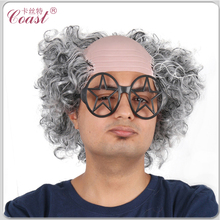bald hair wig with grey curly side hair