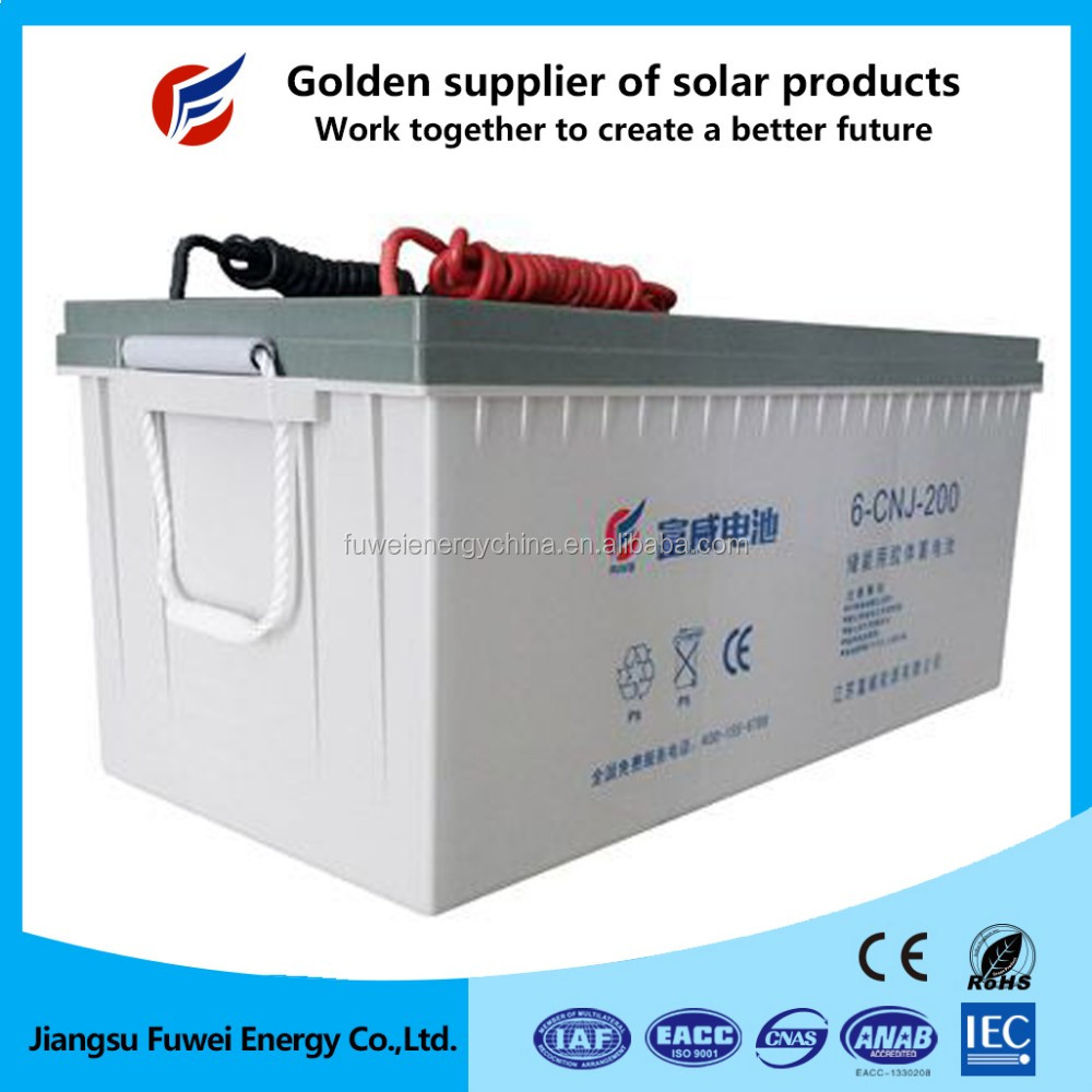 High performance deep cycle inverter battery 200ah 12v for solar system 200kw