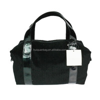 Black Corduroy Lady handbag/Family weekend travel bag in Guangzhou manufacturer
