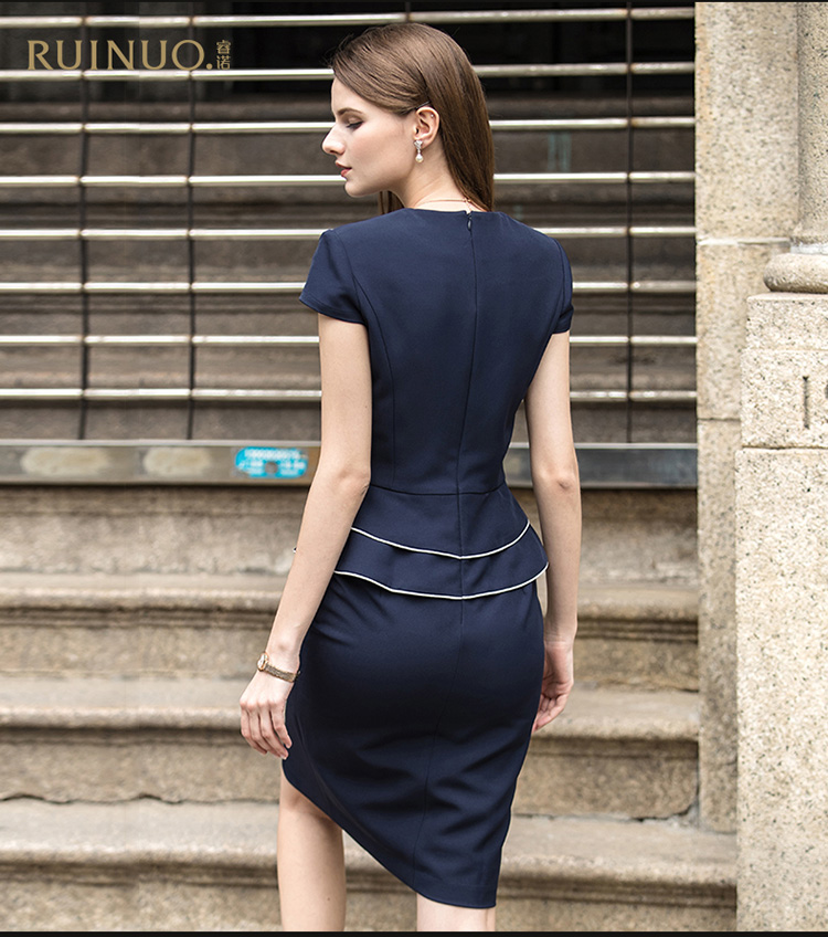2017 latest office dress sets bodycon dark blue fashion design popular in Europe and USA