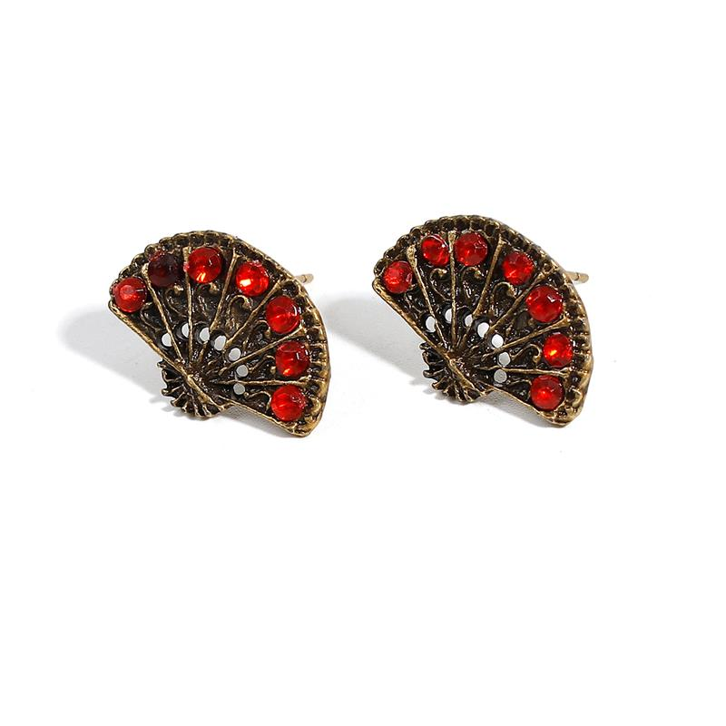 Ear Post Stud Earrings Antique Bronze Fan-shaped Red Rhinestone