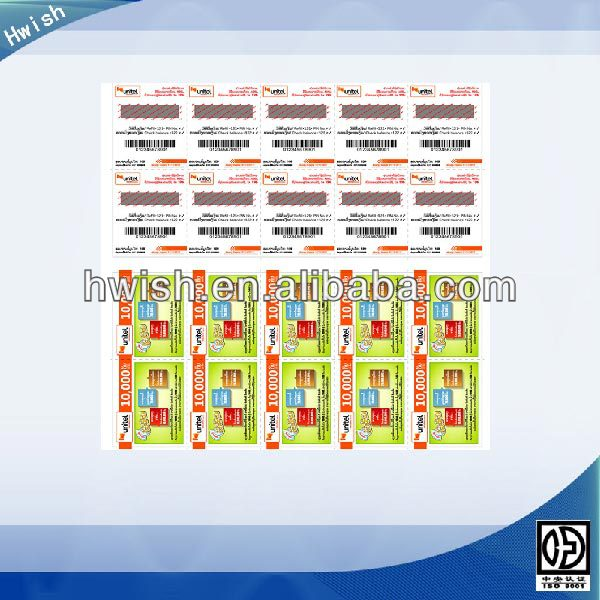 paper phone scratch cards printing