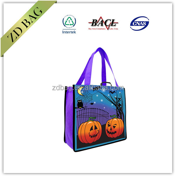 Halloween pp non woven lamination bag for trick or treat