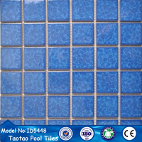 cheap blue color ceramic mosaic floor tiles for swimming pool