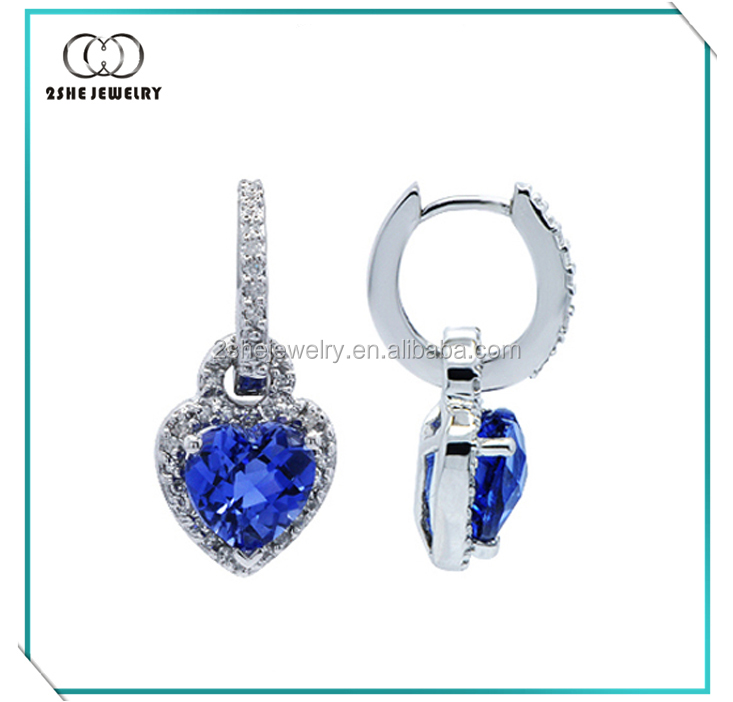 Hot sale white gold plated blue sapphire heart dangle earrings