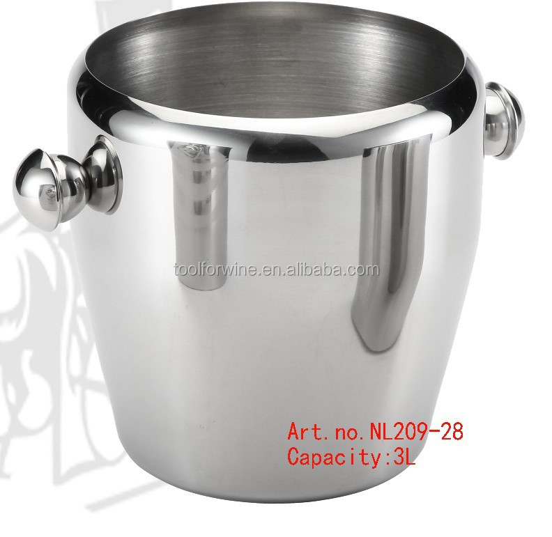 Wine champagne Stainless steel ice bucket cooler with handles