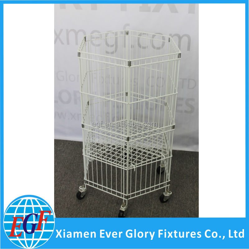 6 Sides Floor Standing Metal Wire Dump Bin Display with Adjustable Shelf