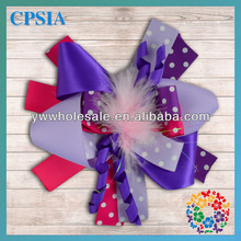 Purple Red Dot Pattern Decoration Flower with Feather Center Lovely Hair Accessories 2014 Latest Items