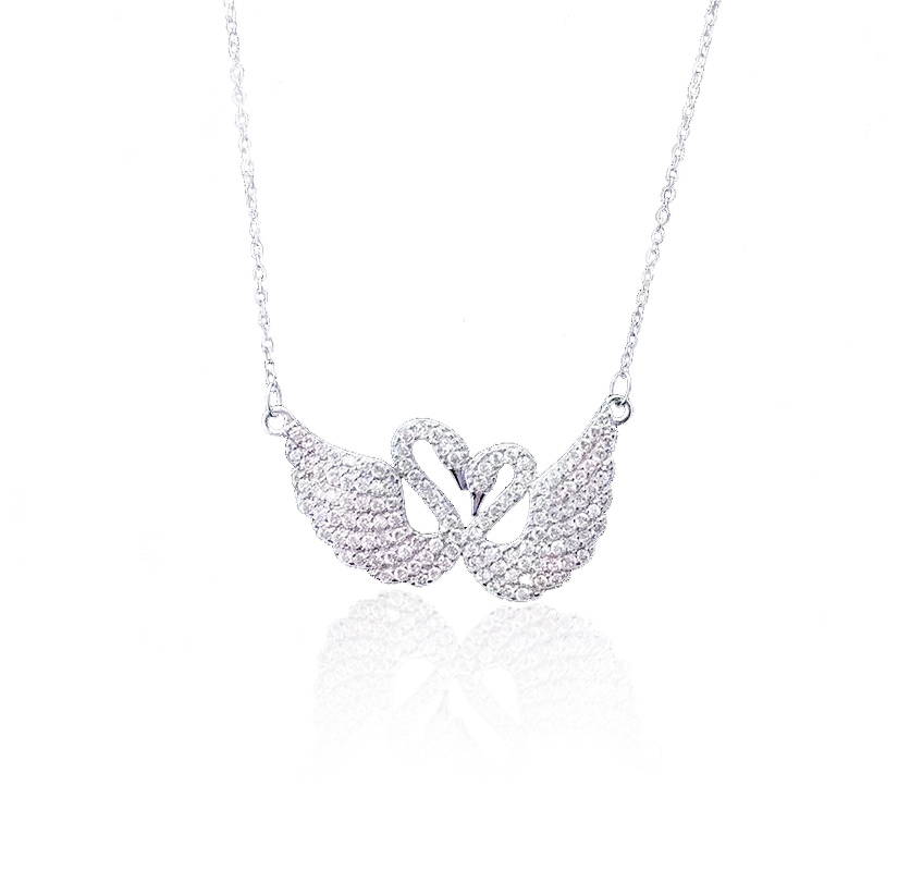 latest design choker neckalce silver plated crystal couple pendant swan necklace