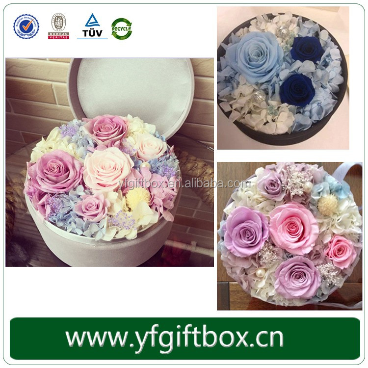 2016 Custom New Design Lid And Tray Round Shape Flower Box