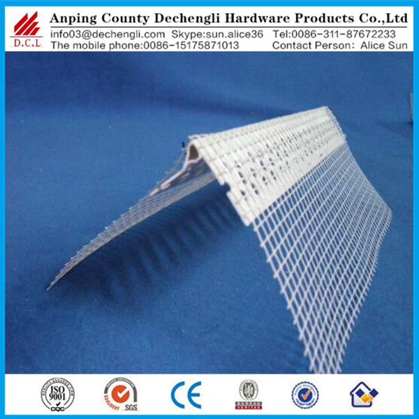 Chinese manufacturershigh quality pvc stucco stop corner beads with fiberglass wire mesh /plaster wall protection corner bead