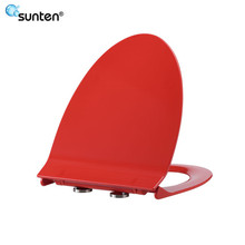 Xiamen Soft Closing Feature Red Color Elongated V Shape Human Toilet Seat