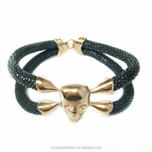 Fashion Luxury Rose gold stainless steel Skull charms Jewelry Genuine Stingray Men Leather Bracelet
