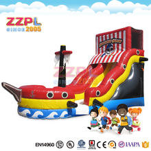 ZZPL Pirate ship Theme Party Inflatable Slide Commercial Fun Inflatable bounce Park for Rental Business