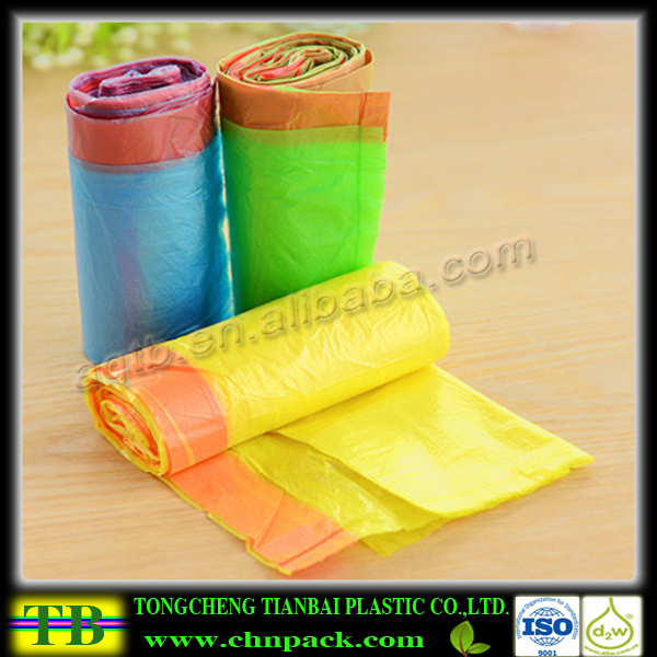 Colored Drawstring Trash Bag Plastic Garbage Bags with Drawstring