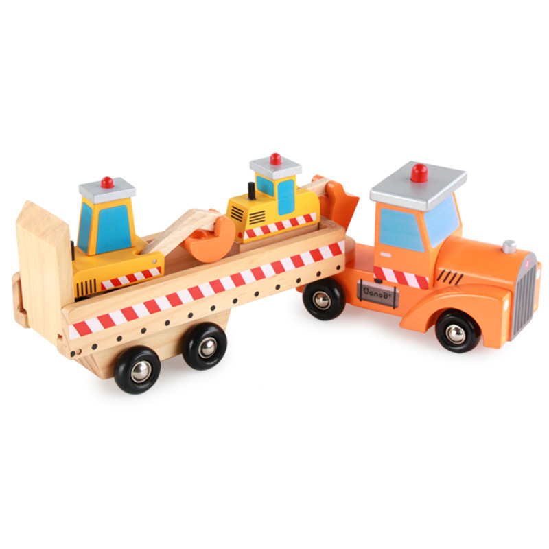 Wholesale High Quality Hot Sell Wood 4 PCS Engineering Vehicles YZ159 Wooden cars for kids